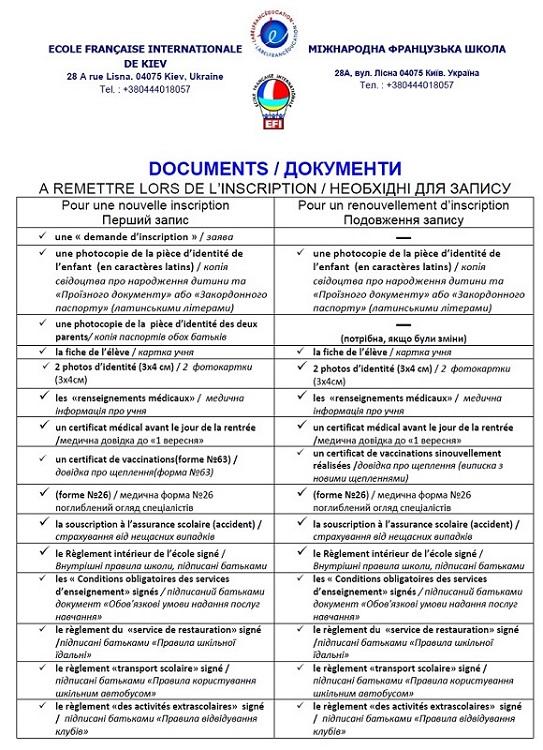 Документи, необхідні для запису в МФШ