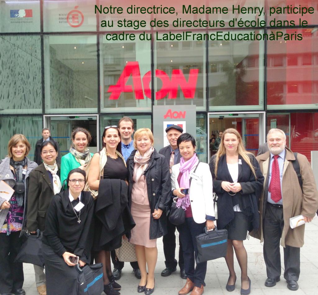 В квітні 2014 мадам Анрі пройшла стажування для директорів LabelFrancEducation в Парижі